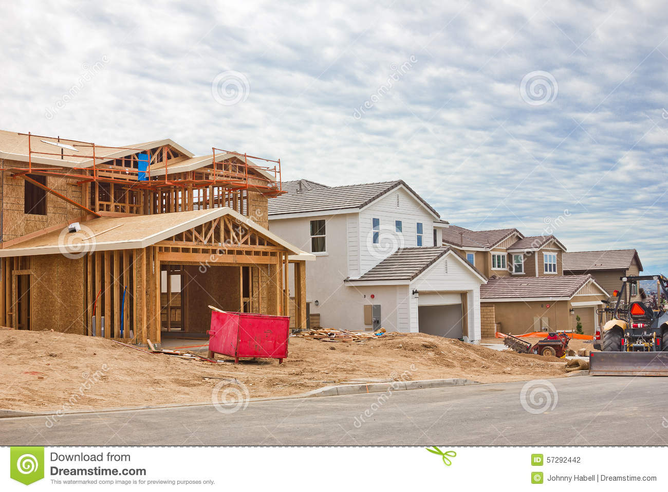 Construction site of new homes stock photo image 57292442 for On site home builders