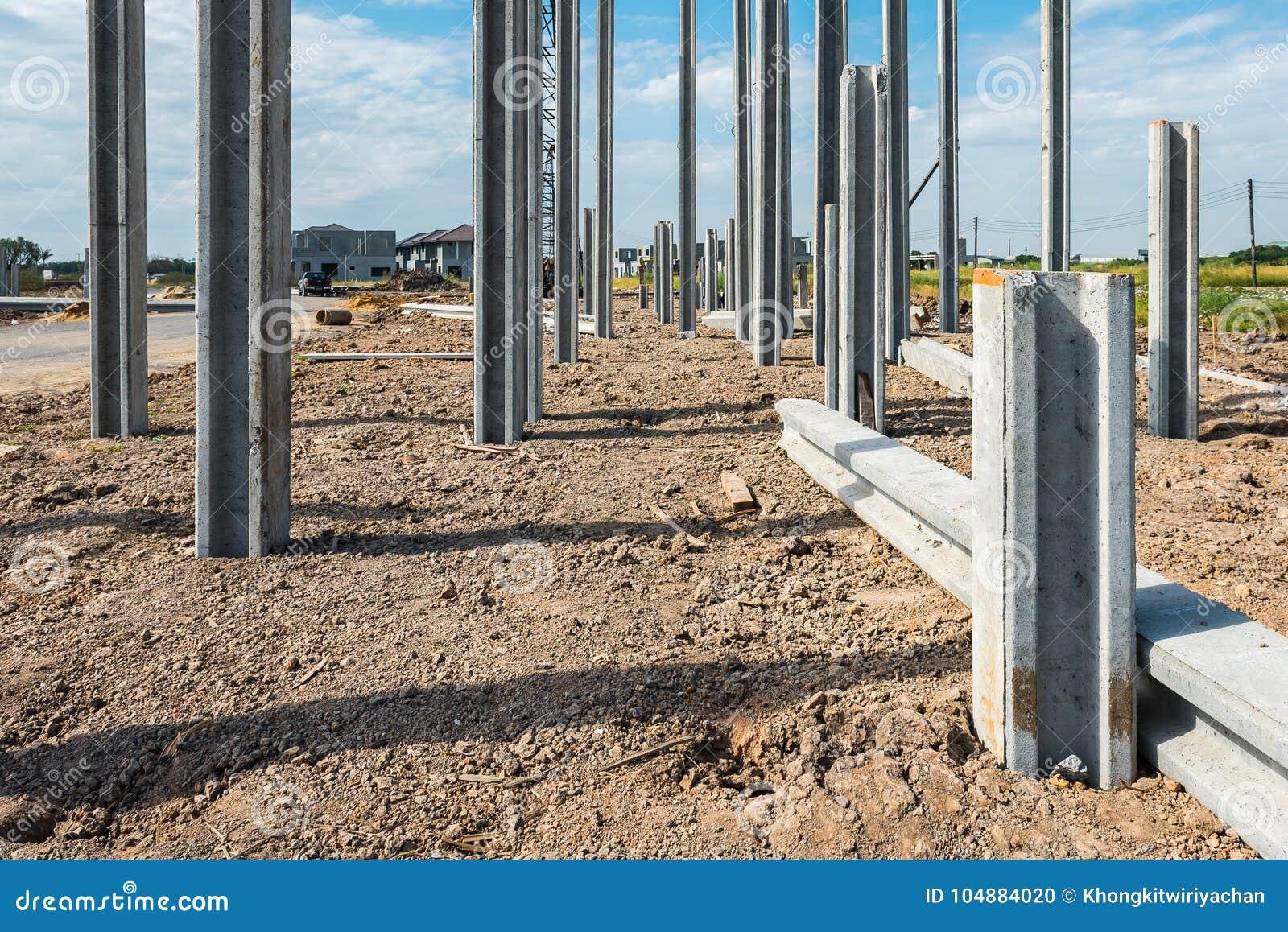 Construction Site With Precast Concrete Pile Stock Photo - Image of