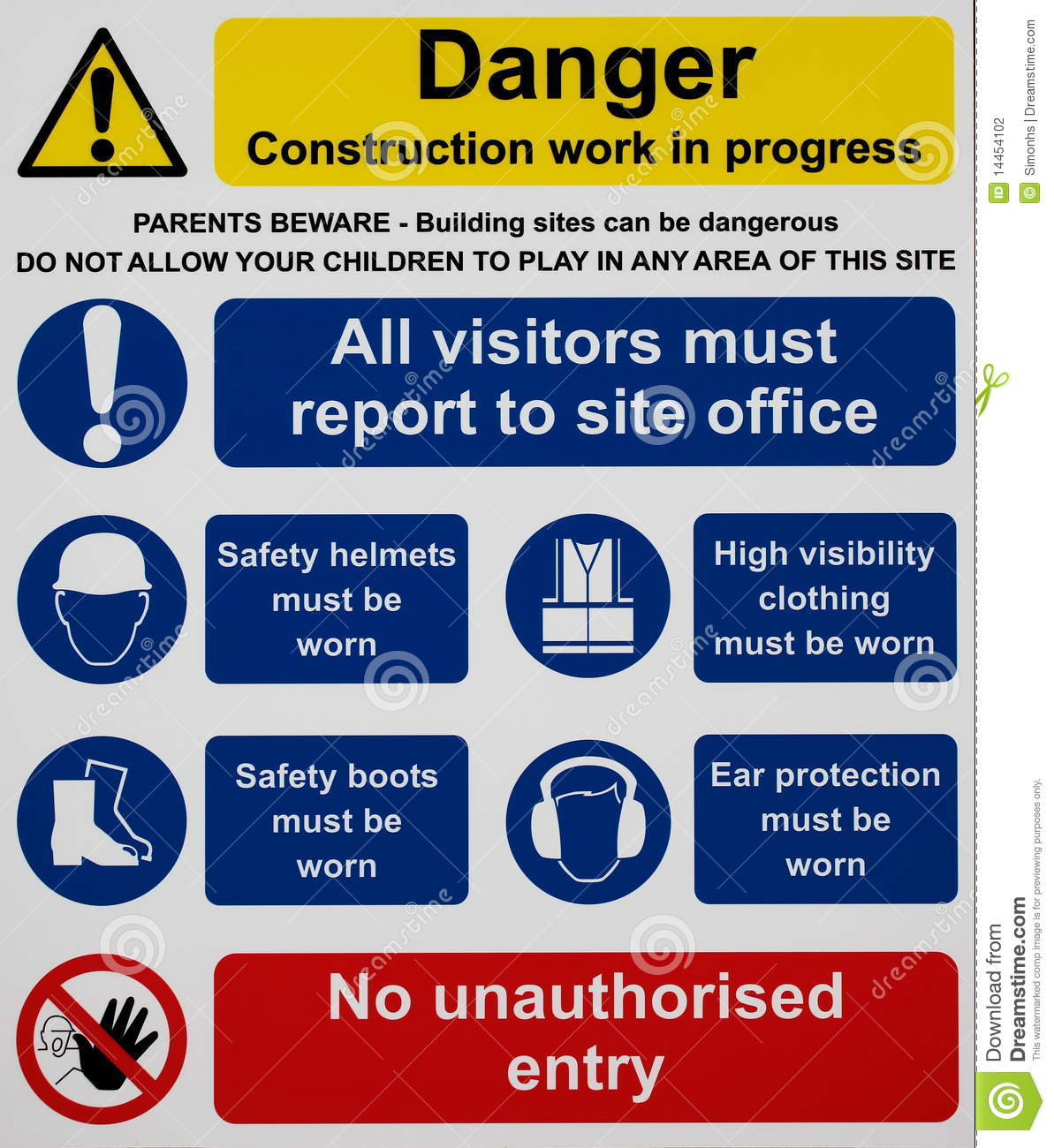 Construction Site Safety Sign Stock Photo Image 14454102