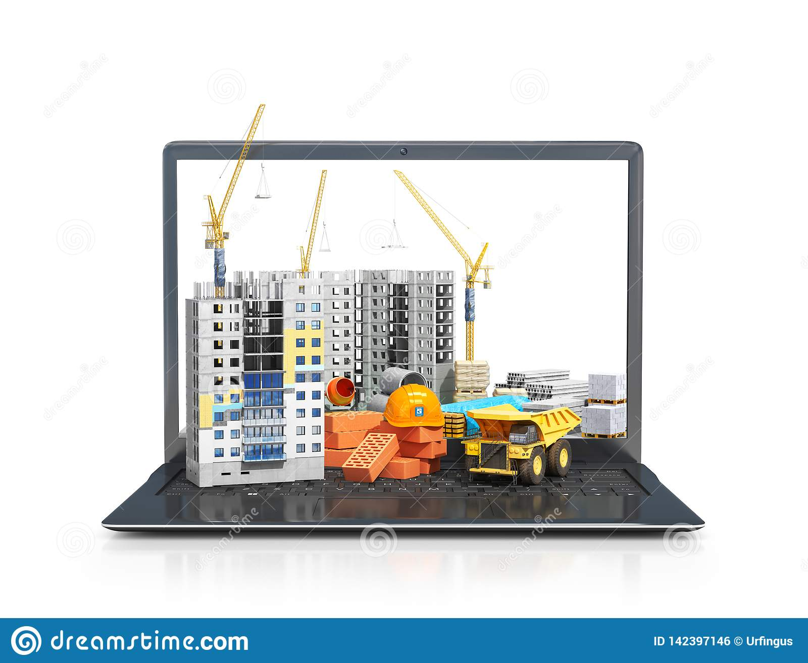 Construction Site On The Screen Of A Portable Computer Skyscraper