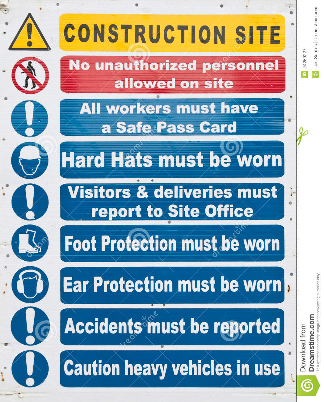 Construction site sign stock image  Image of hazard