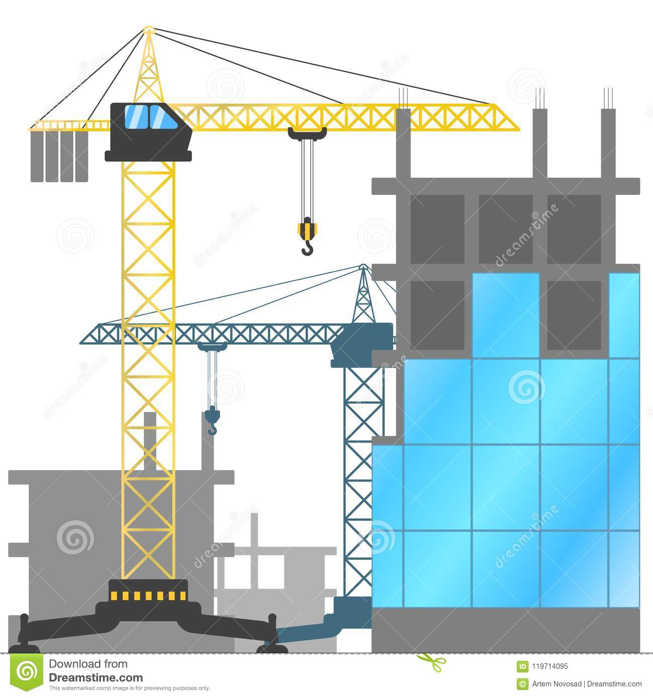 Construction site with tower cranes and buildings under construction. Vector illustration of the construction of houses.