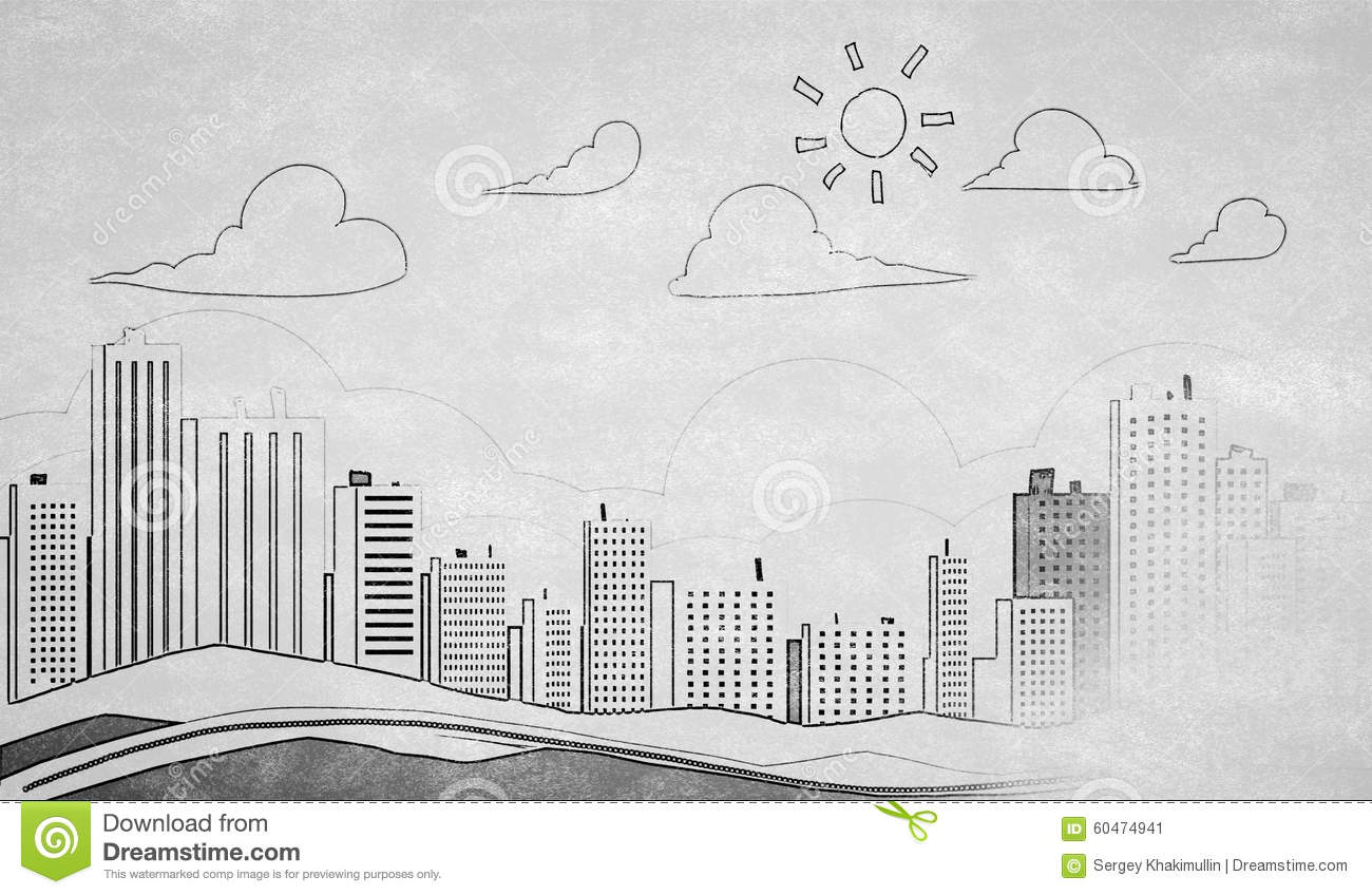 Drawing Lines Using Html : City construction sketch vector illustration