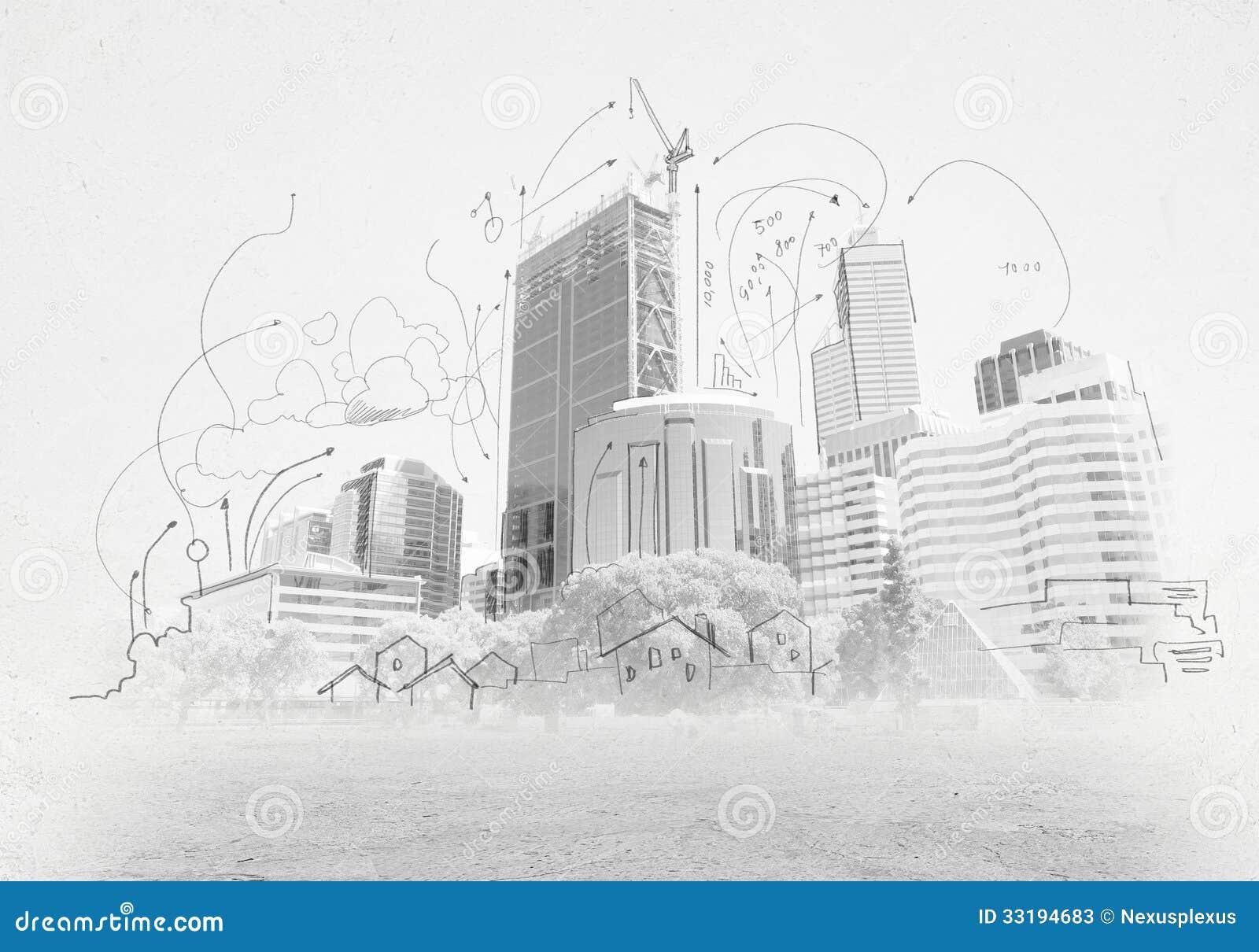 iConstructioni sketch stock image Image of plan