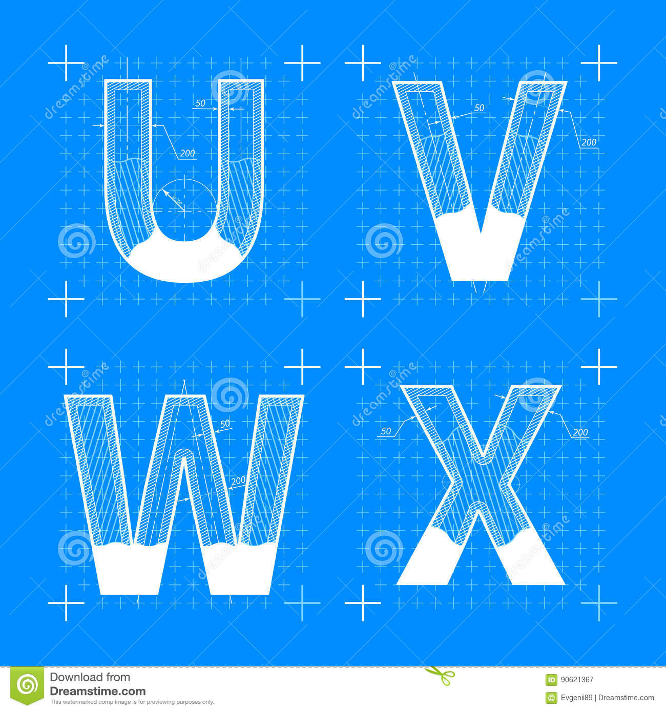 Construction Sketches Of U V W X Letters Stock Vector
