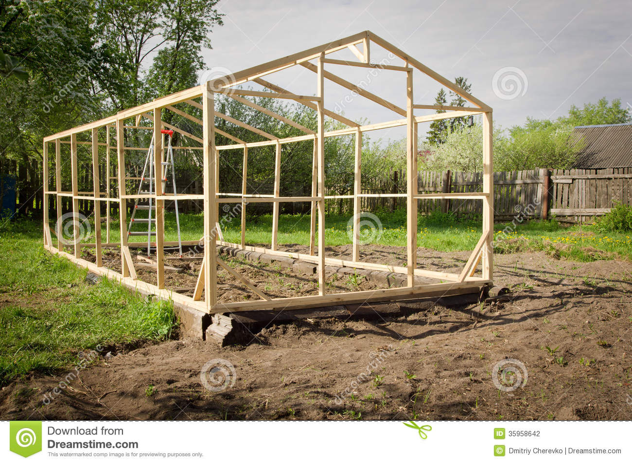 Construction Of A Small Greenhouse Stock Photo Image Of