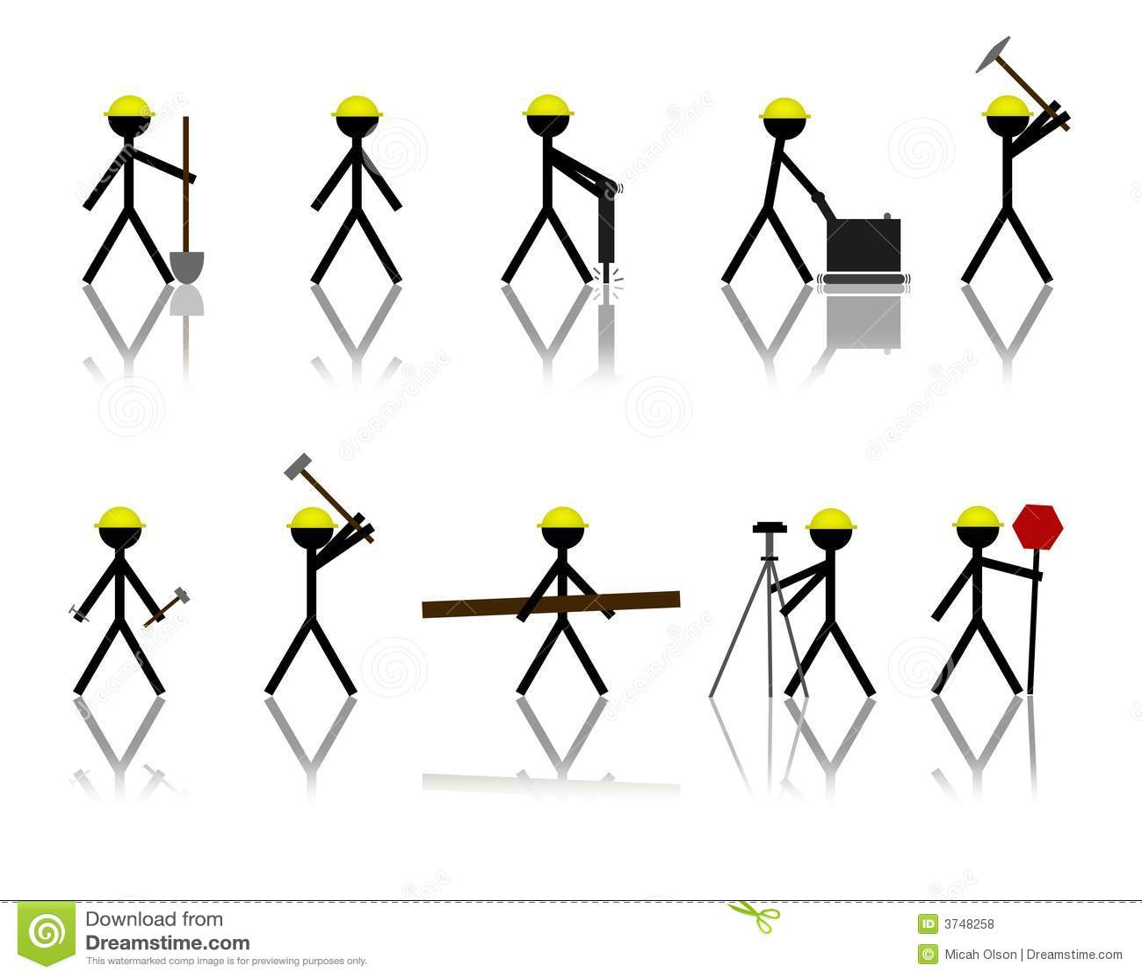 Construction Stick Figures Stock Illustration Image Of
