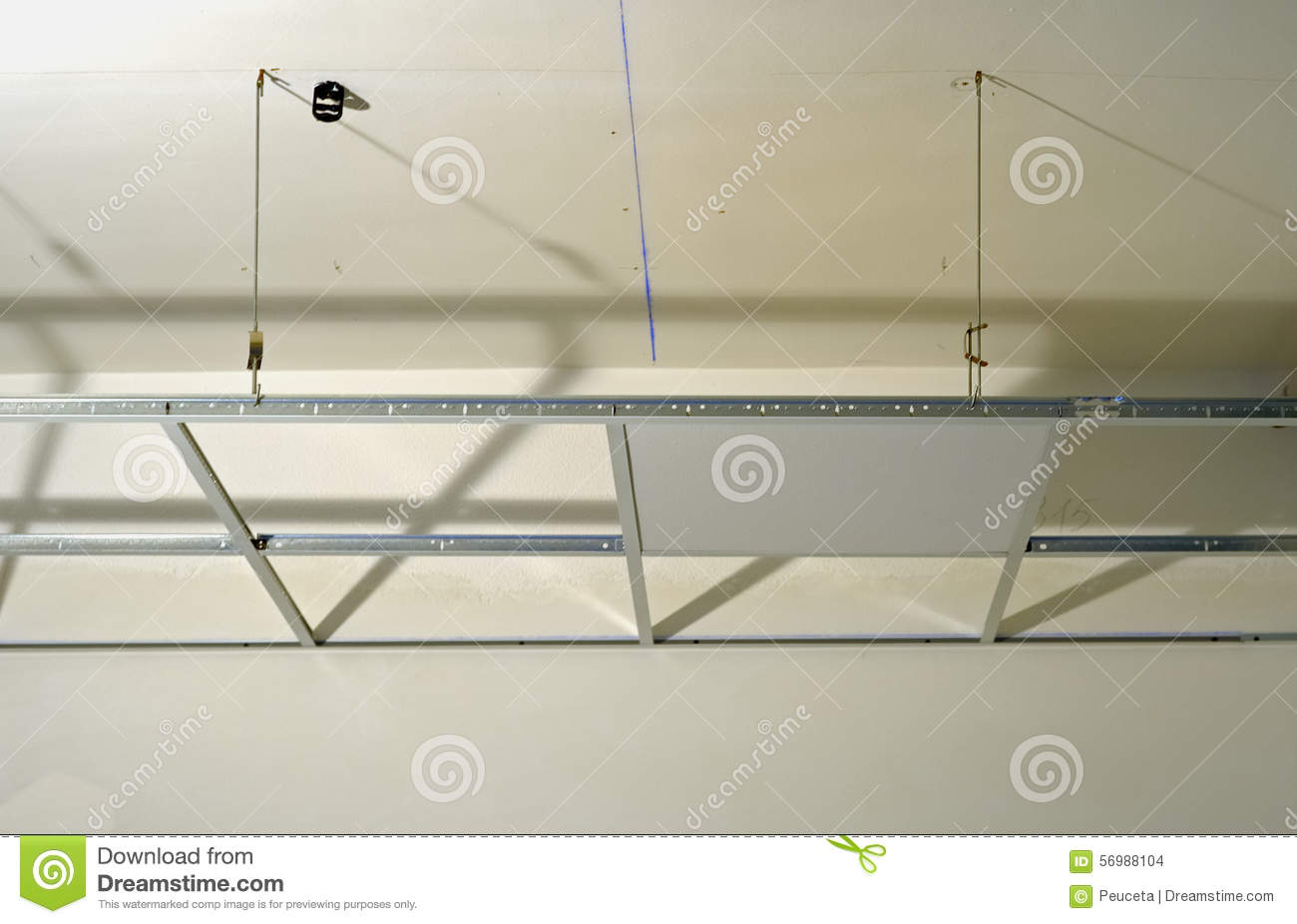 """suspended ceiling construction Installation of steel suspended ceiling: • steel structure of suspended ceiling is composed of grids •grid system is supported by hanger wire •each cell is filled with lightweight """"panels which simply drops into the grid."""