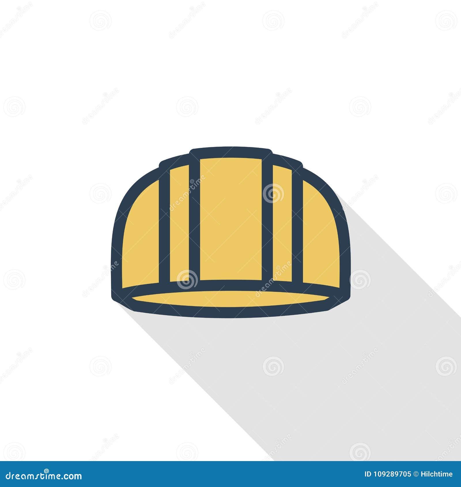 Construction symbol, helmet thin line flat color icon. Linear vector symbol. Colorful long shadow design.