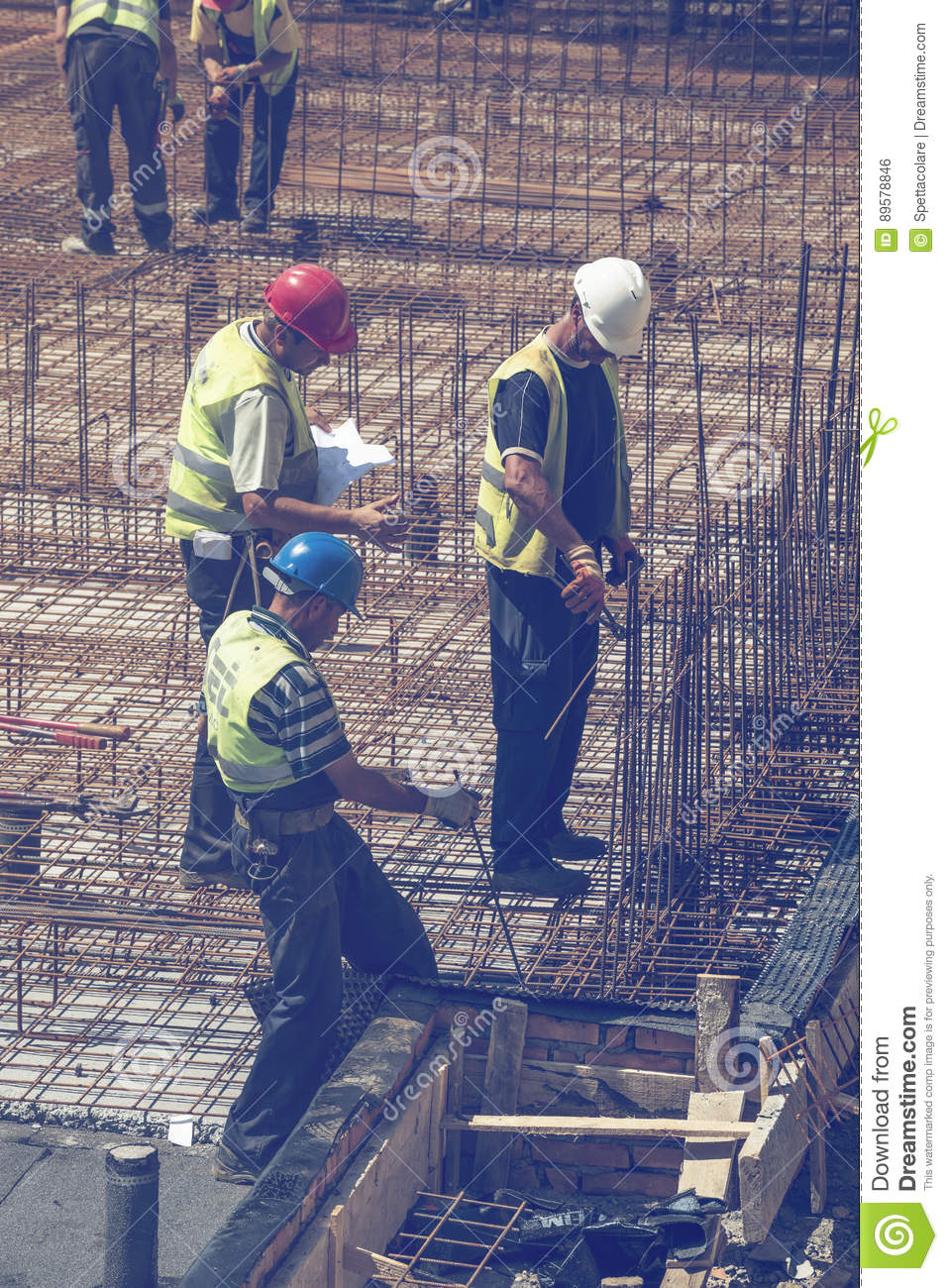 Construction Team With Blueprint Working 3 Editorial Photo - Image