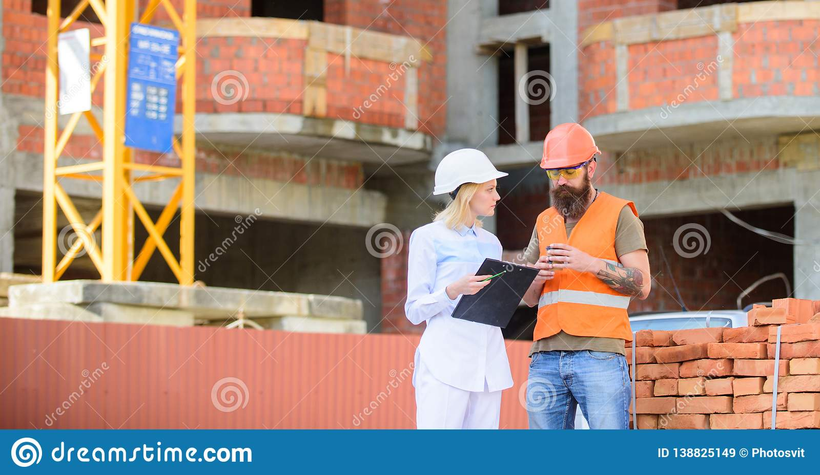 Construction team communication concept. Relationships between construction clients and participants building industry