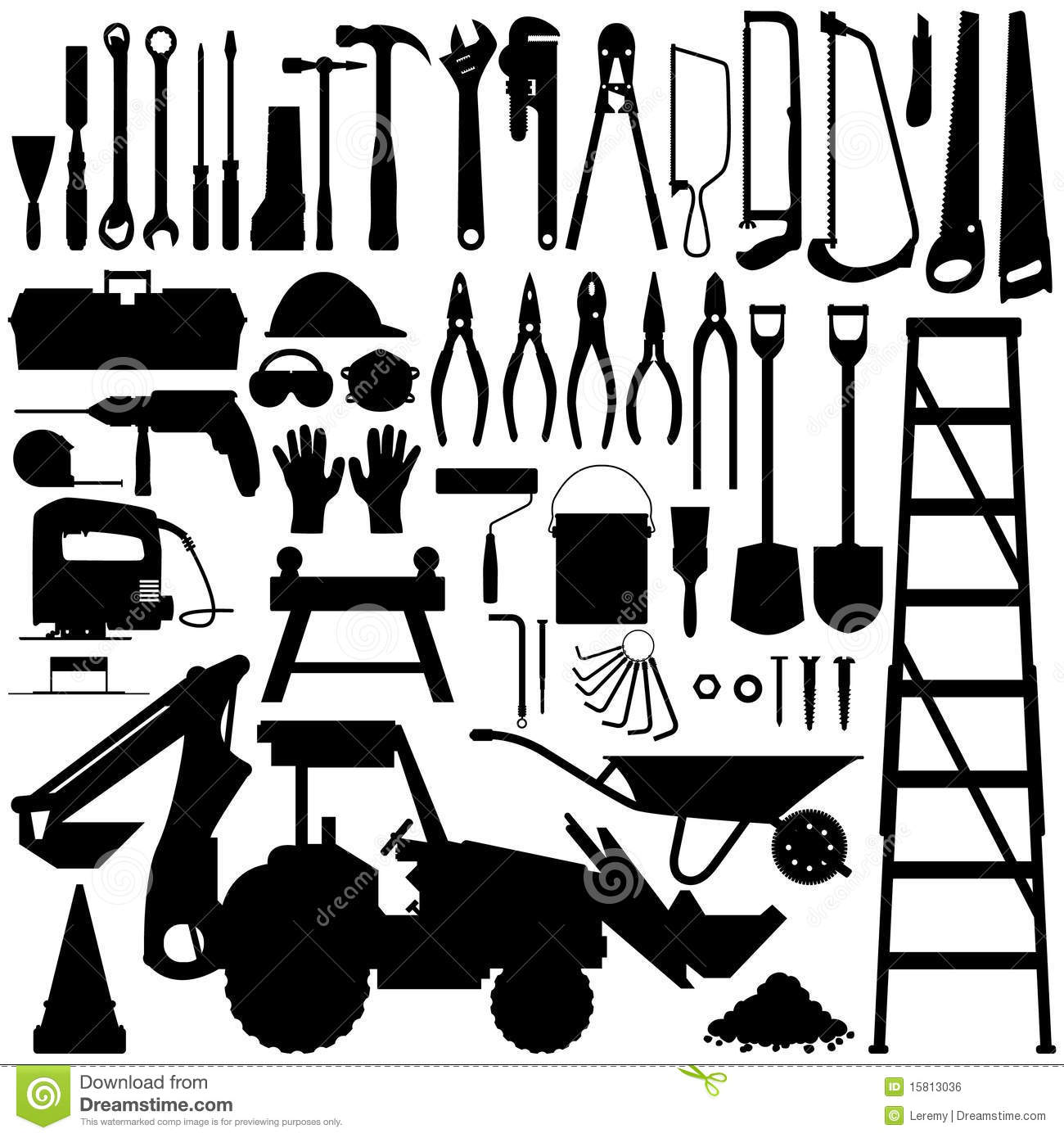 Construction Tool Silhouette Vector Royalty Free Stock