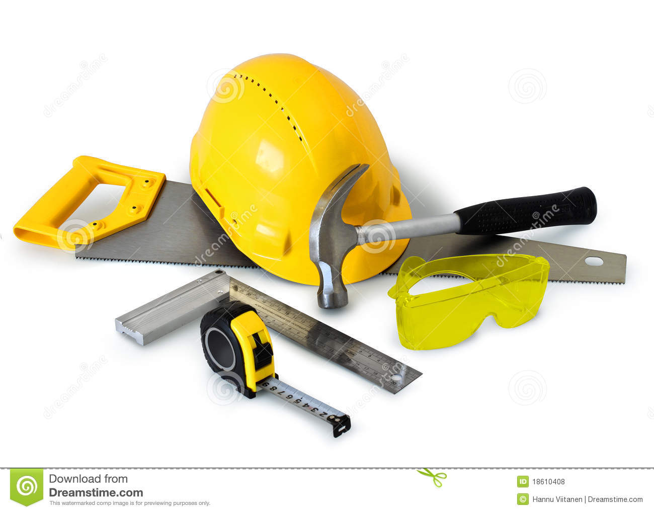 Hines (OR) United States  city images : Construction tools gear and safety equipment on white background ...