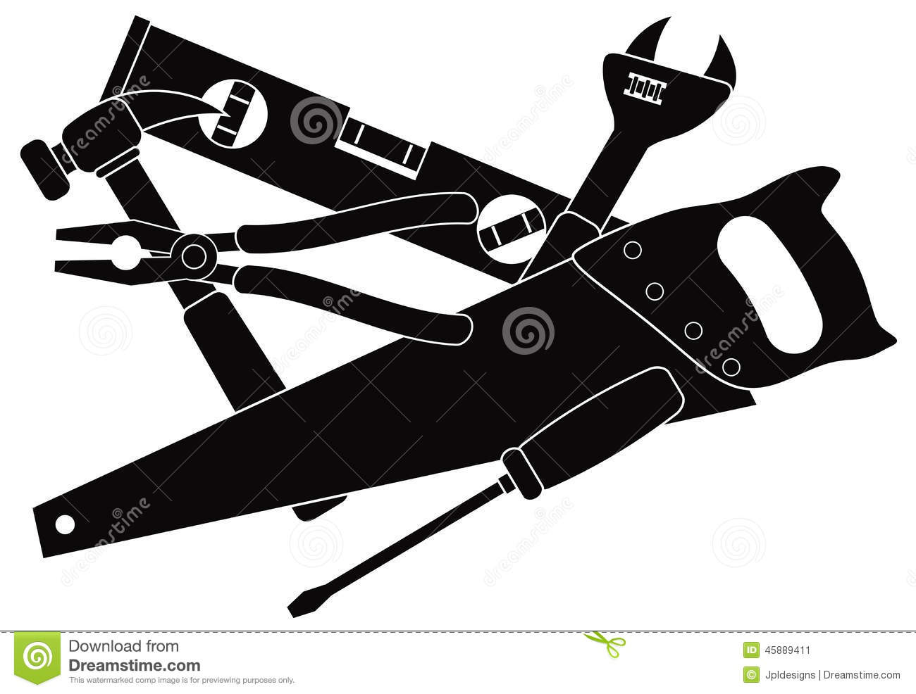 Construction Tools Black And White Vector Illustration ...