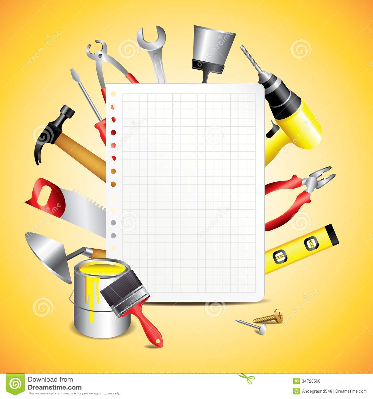 Construction Tools With Blank Paper Royalty Free Stock