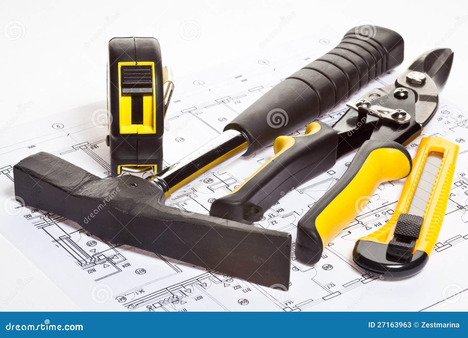 construction tools and blueprint stock photos image
