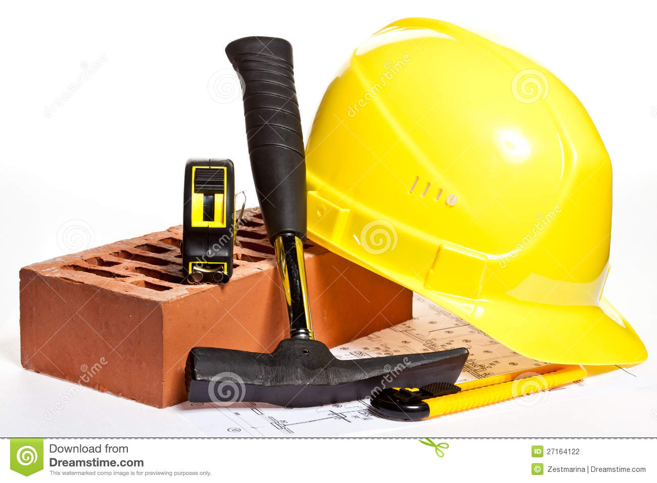 construction tools and blueprint stock photography image