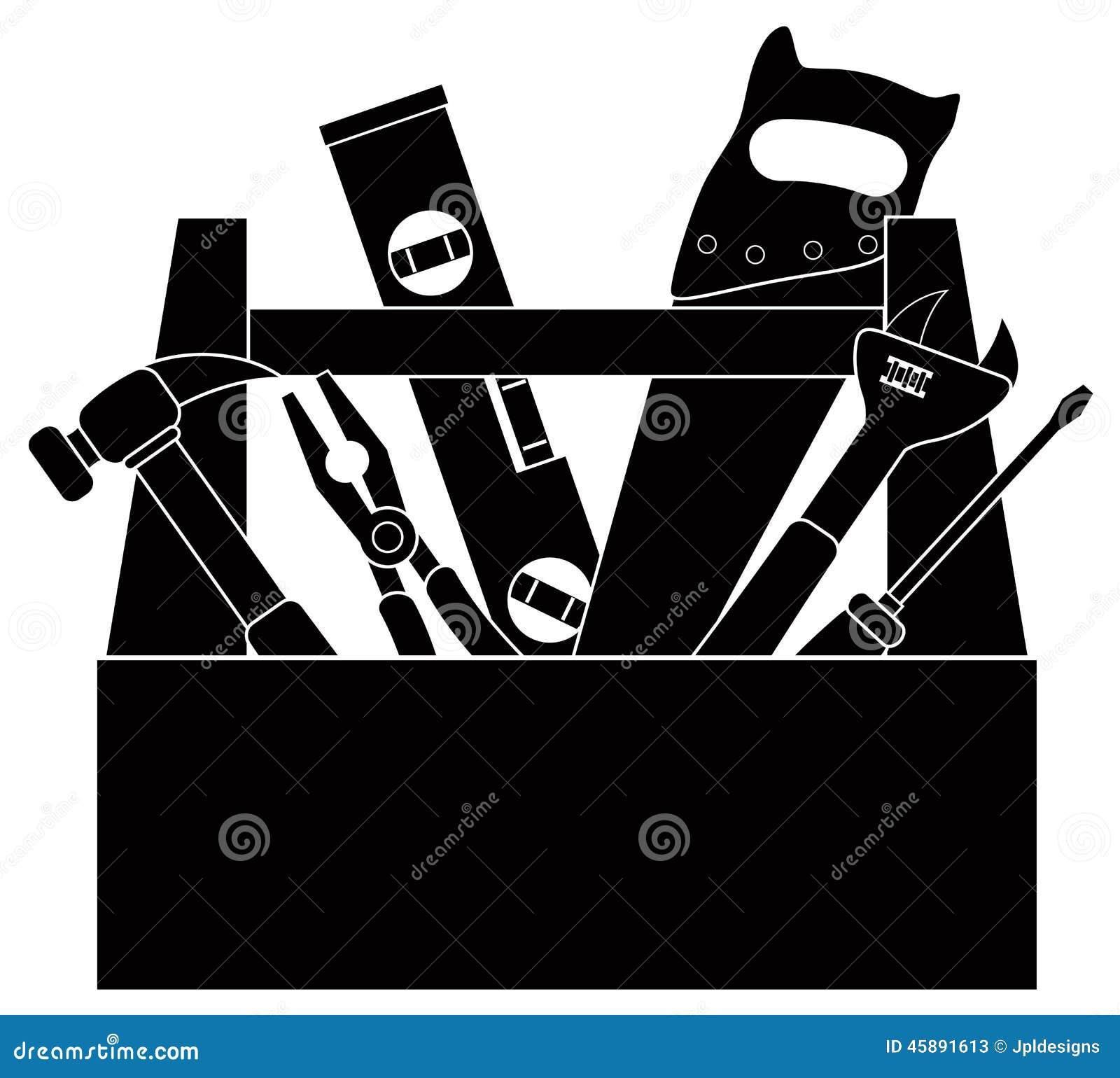 tools clip art black and white. construction tools in tool box black and white vector illustration 45891613 megapixl clip art