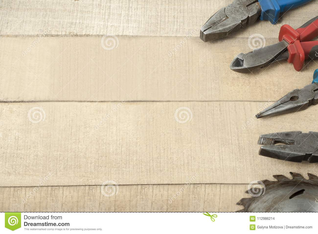 Construction tools on wooden background.Copy space for text.