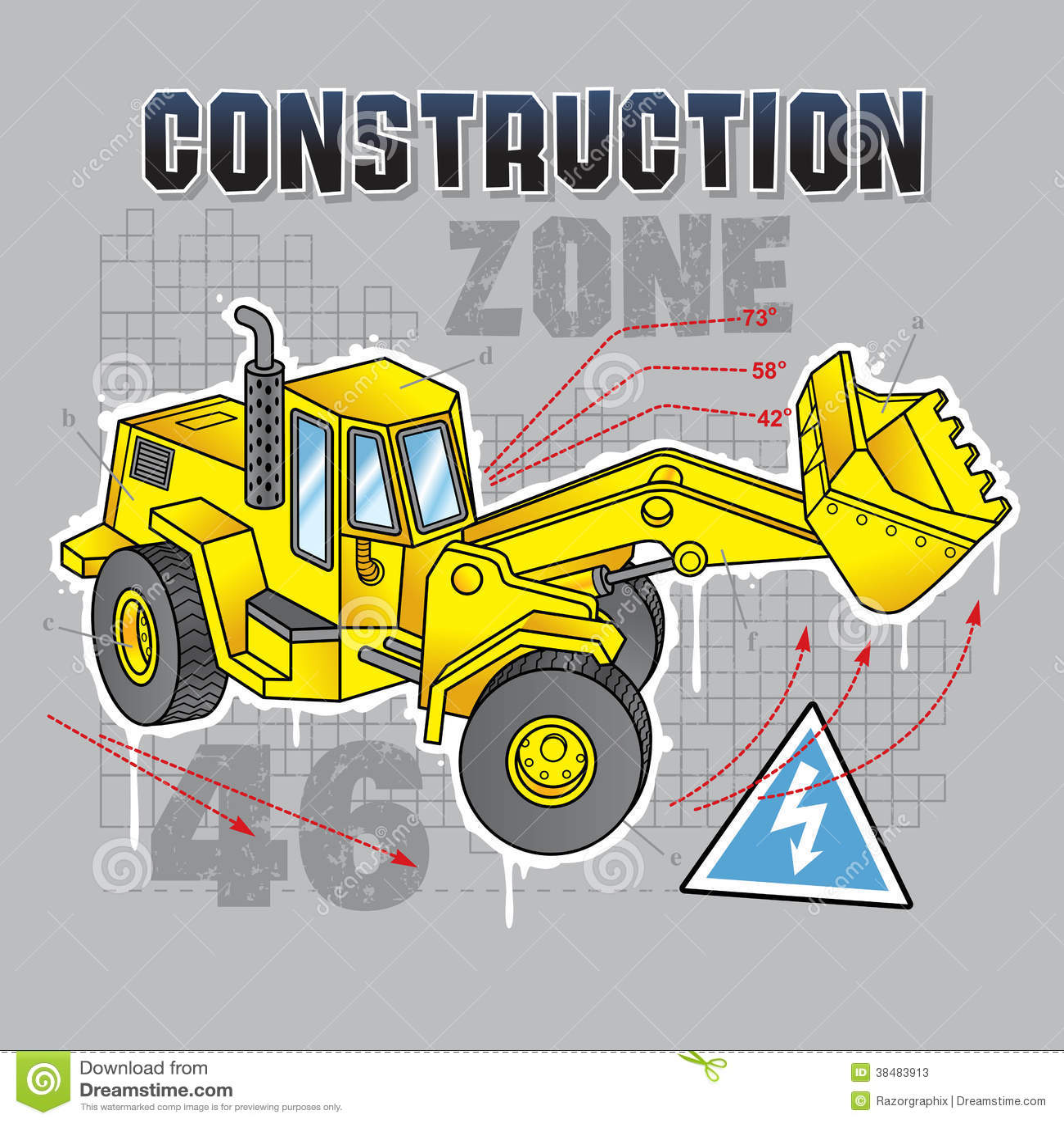 Construction Truck Blueprint Stock Vector - Illustration of