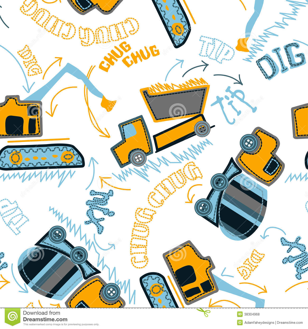 Construction vehicles in a seamless pattern