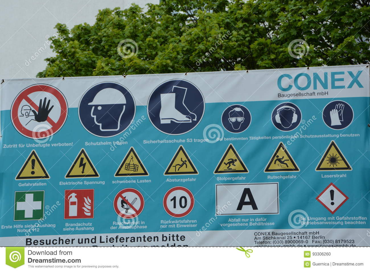 Construction Warning German Signs With Many Safety Related Symbols