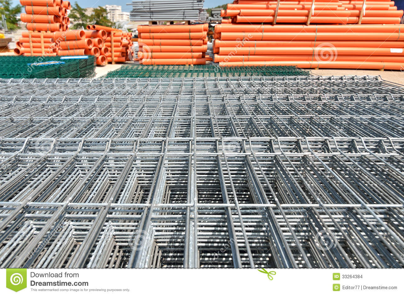 Construction Wire Mesh Panel At Warehouse Stock Photo