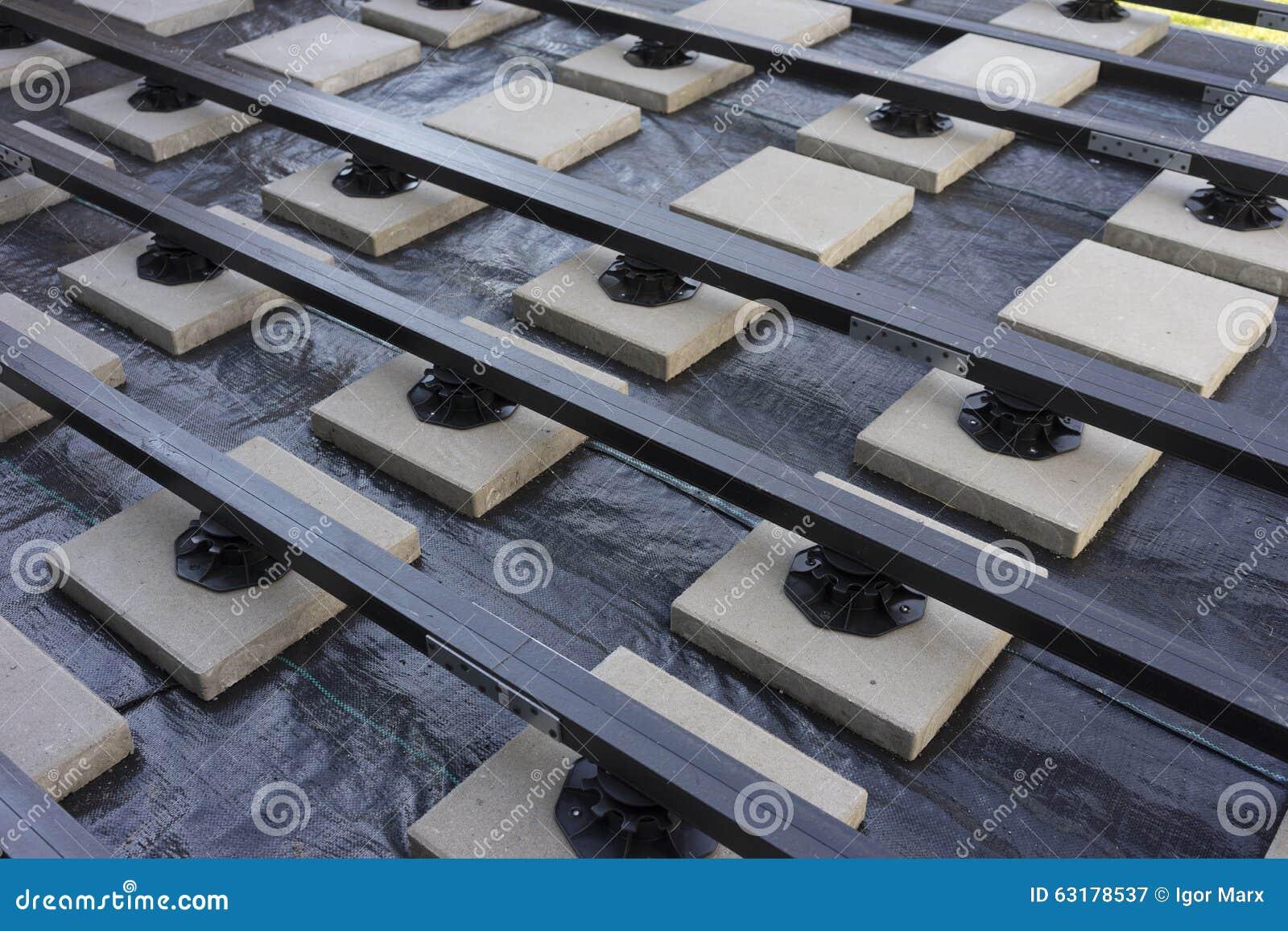 Construction of a wood-plastic composite garden terrace