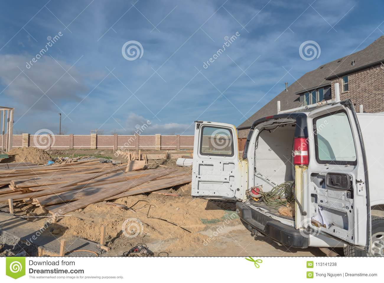 Work Van With Back Open And Tools At Construction Site Stock Photo ...