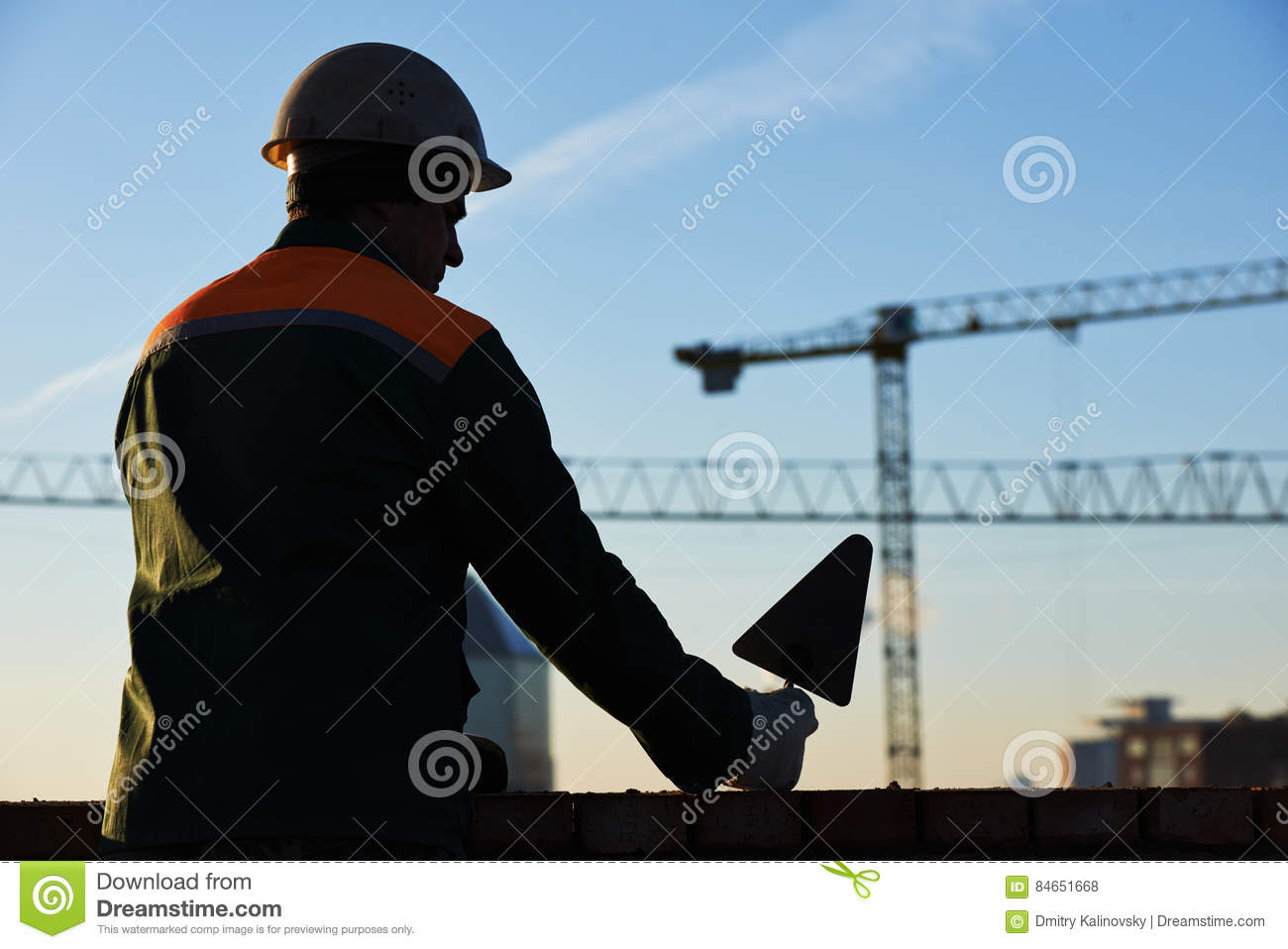 Construction worker bricklayer. Silhouette