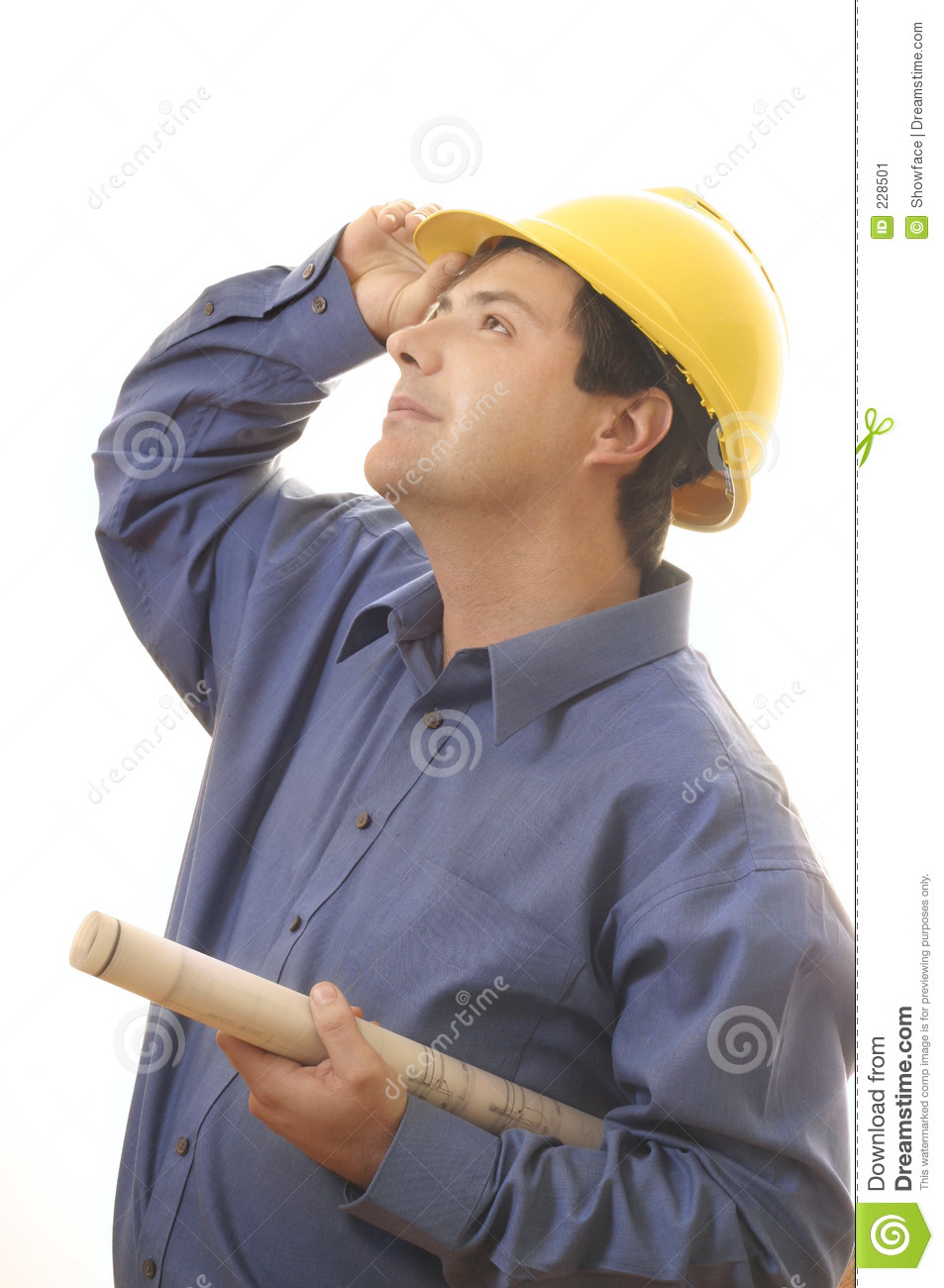Construction worker builder looking up