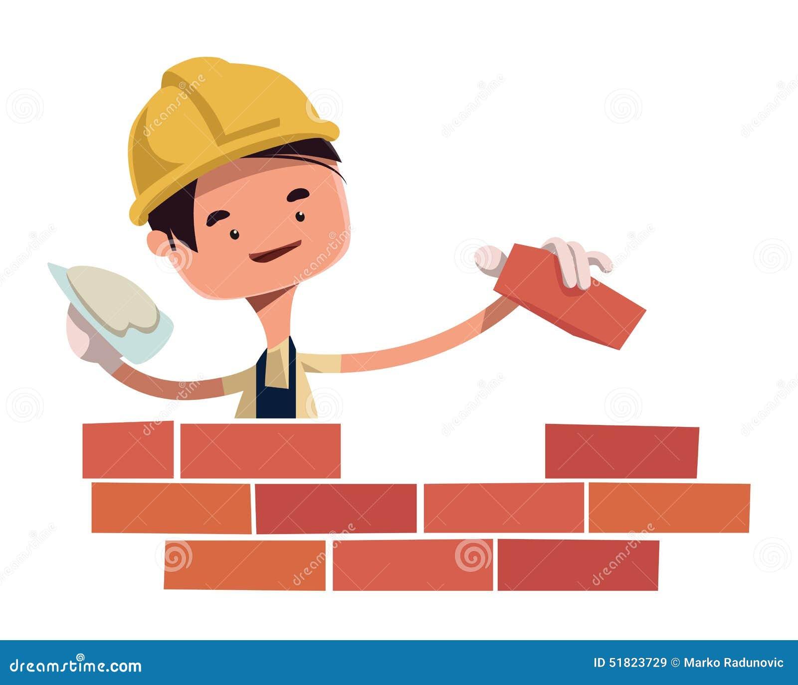 Building Construction Cartoon : Construction worker building wall illustration cartoon