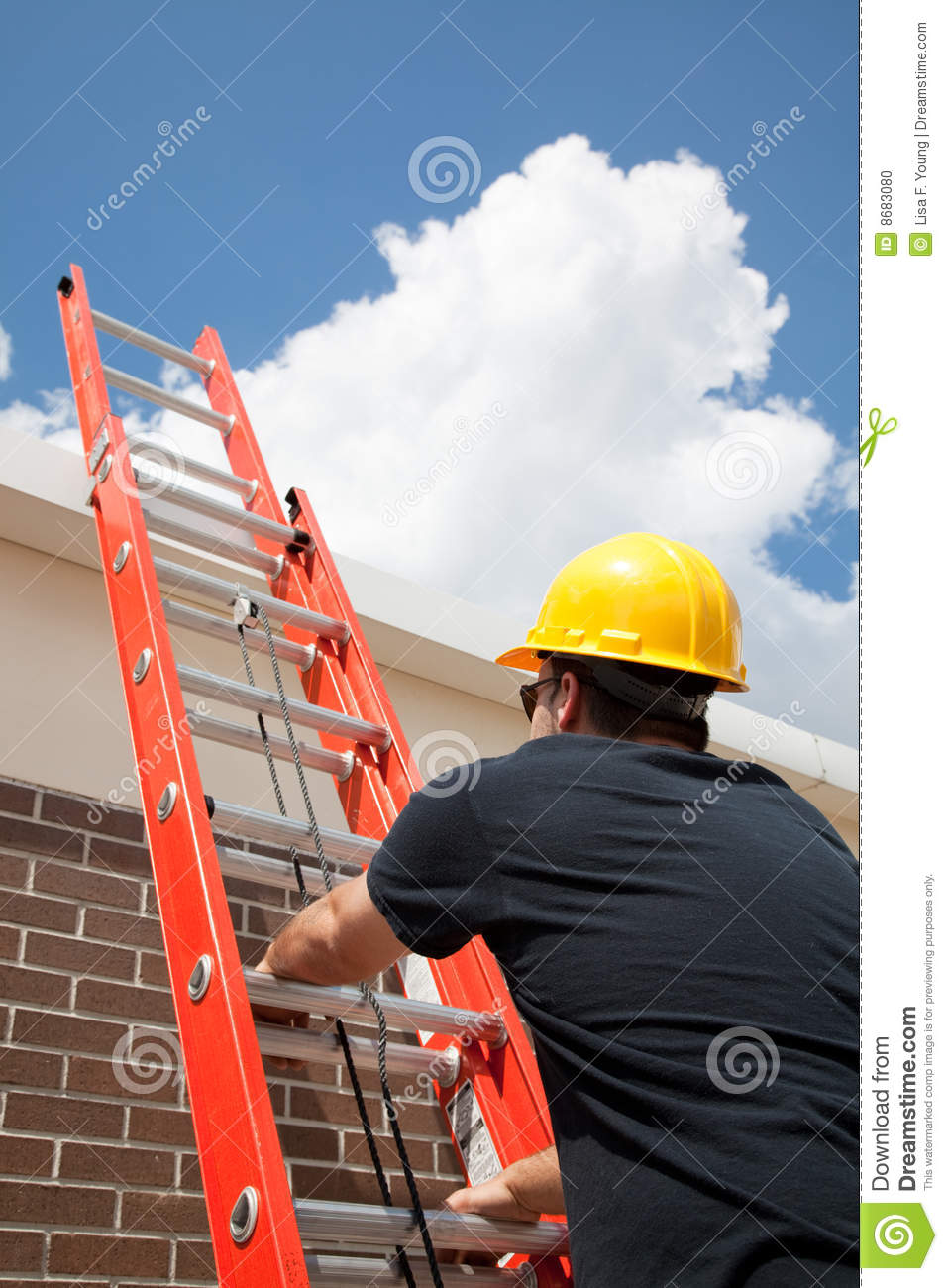 Construction Worker Climbs Ladder Stock Photo Image 8683080