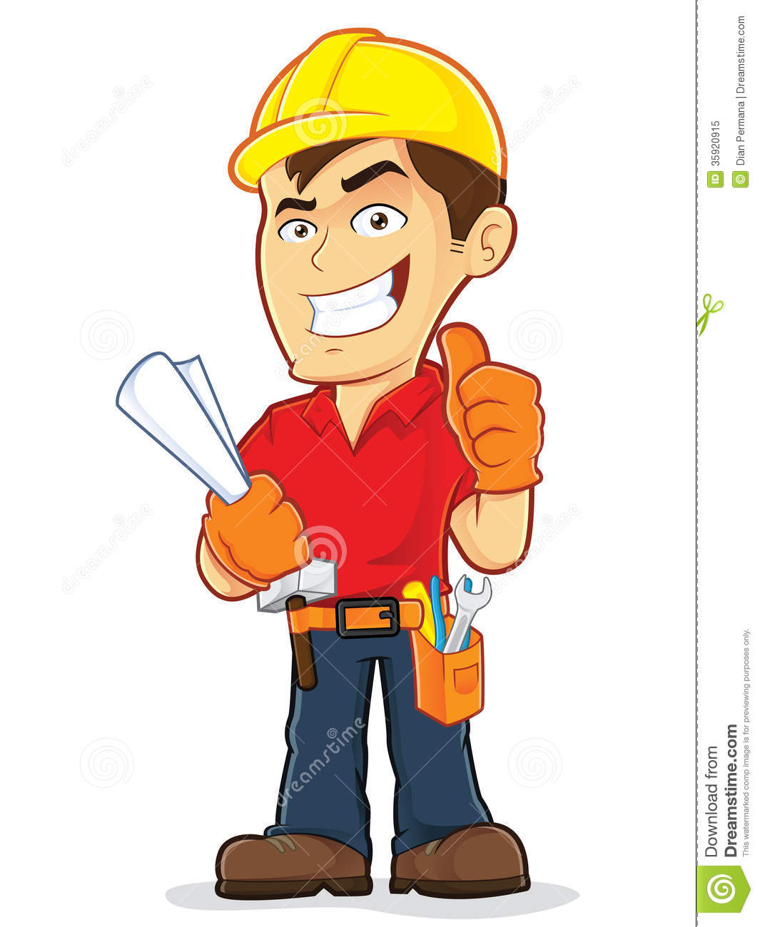 construction worker stock vector illustration of plumber 35920915 rh dreamstime com construction worker clip art black and white construction worker clipart free