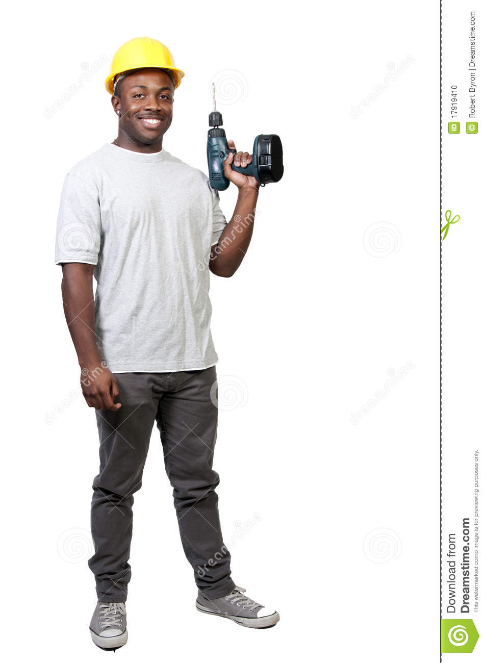 Construction Worker With Drill Stock Photo - Image: 17919410  Construction Wo...