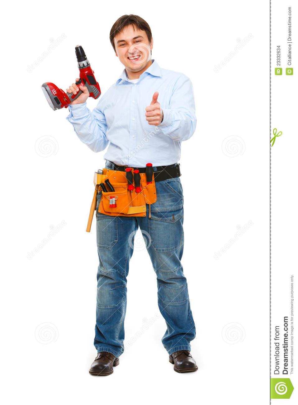 Construction Worker With Drill Showing Thumbs Up Stock ...  Construction Wo...