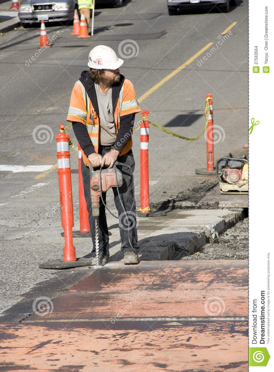 Construction Worker Drilling Editorial Stock Image - Image ...  Construction Wo...