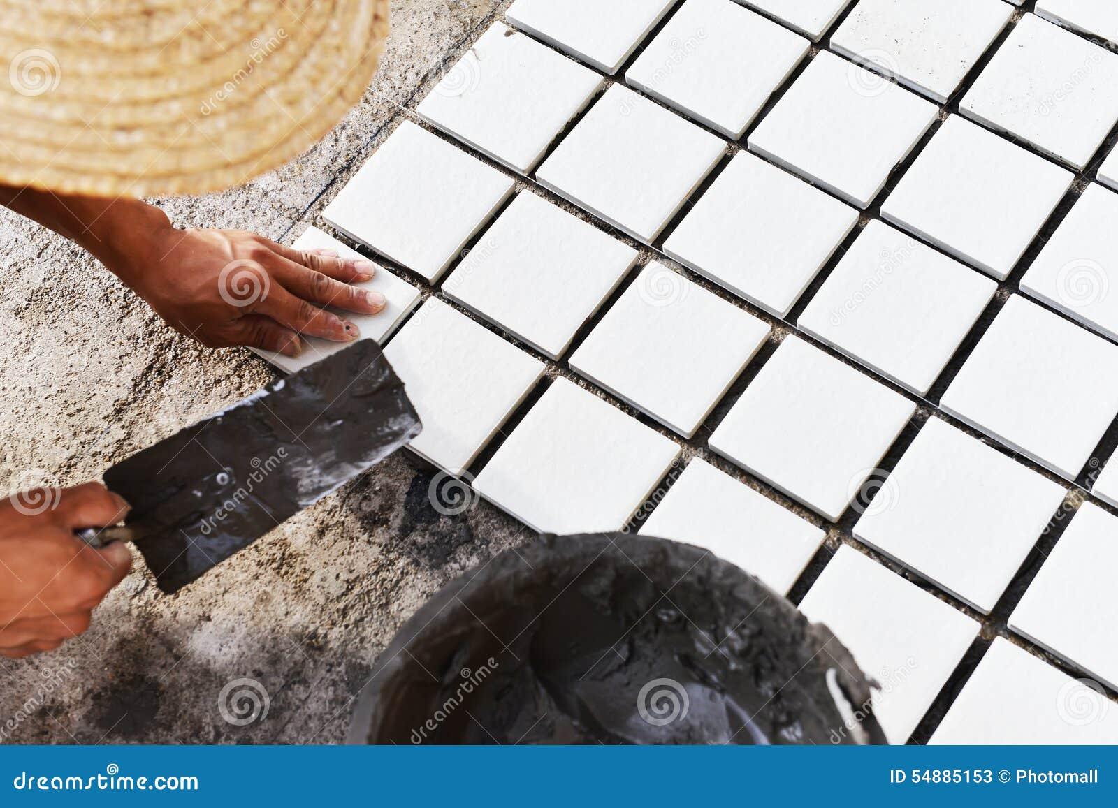 Construction Worker Glued Ceramic Tile Floor Stock Image Image Of