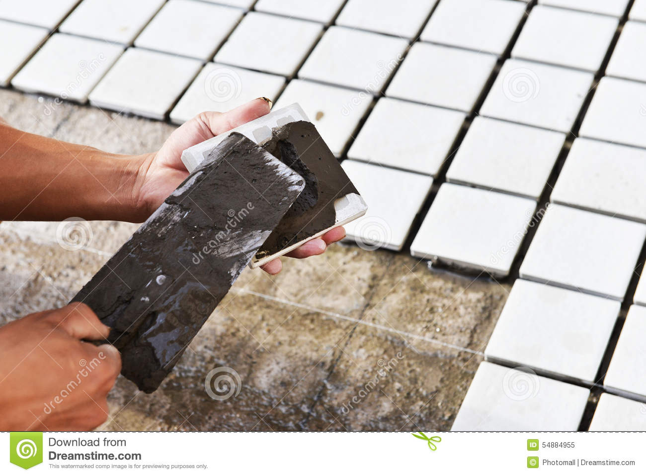 Construction Worker Glued Ceramic Tile Stock Image Image Of Cement