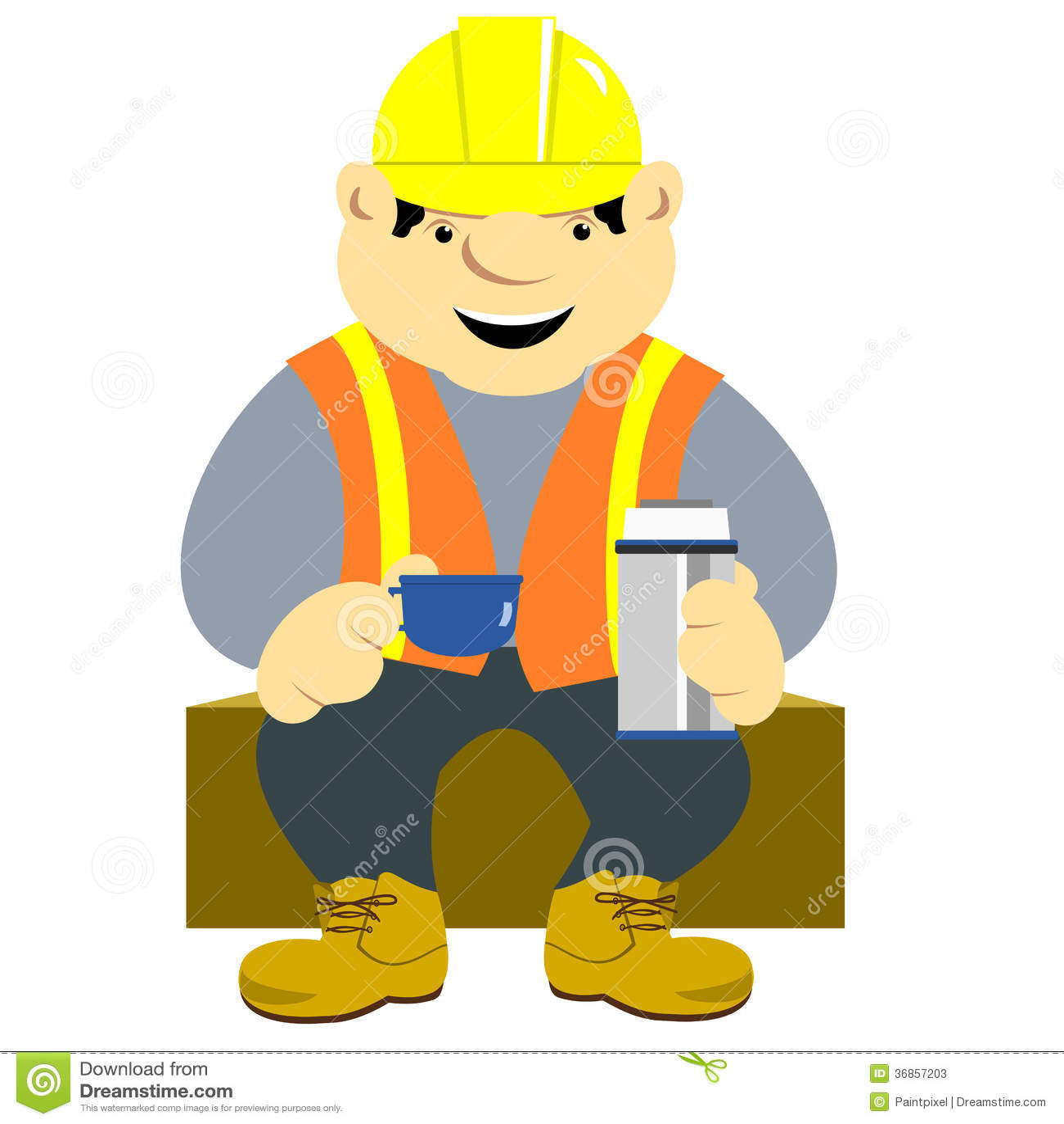 Construction Worker Stock Vector Illustration Of Sitting