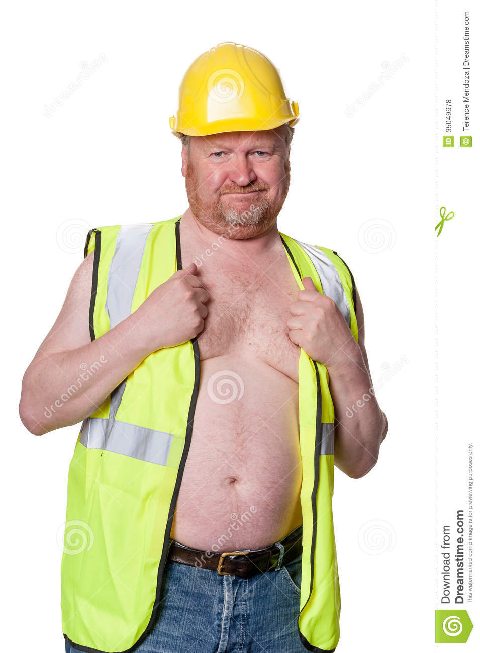 Construction Worker In Hard Hat - Isolated On White Royalty Free Stock ...
