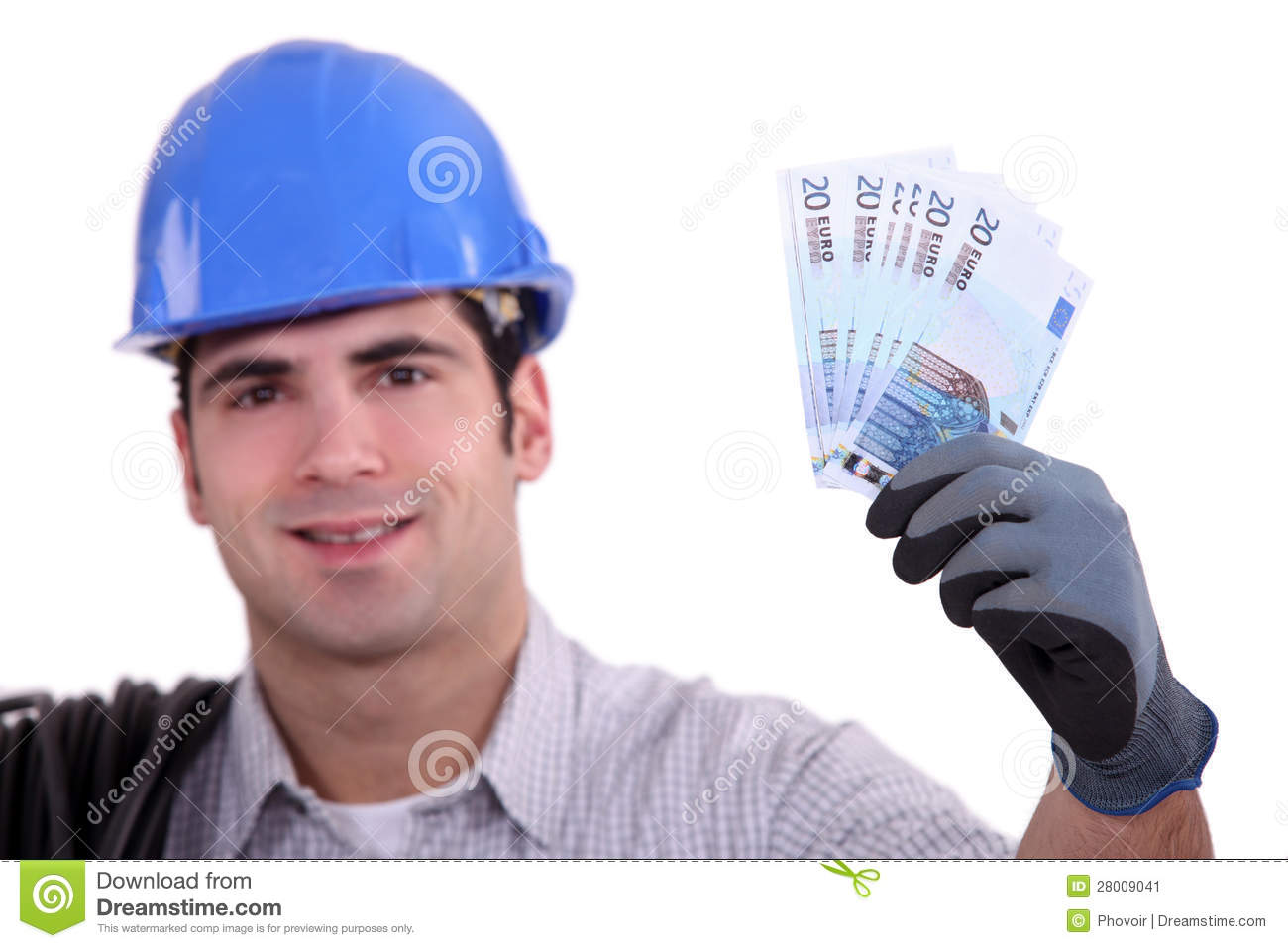 Construction worker holding money stock image image for How contractors make money
