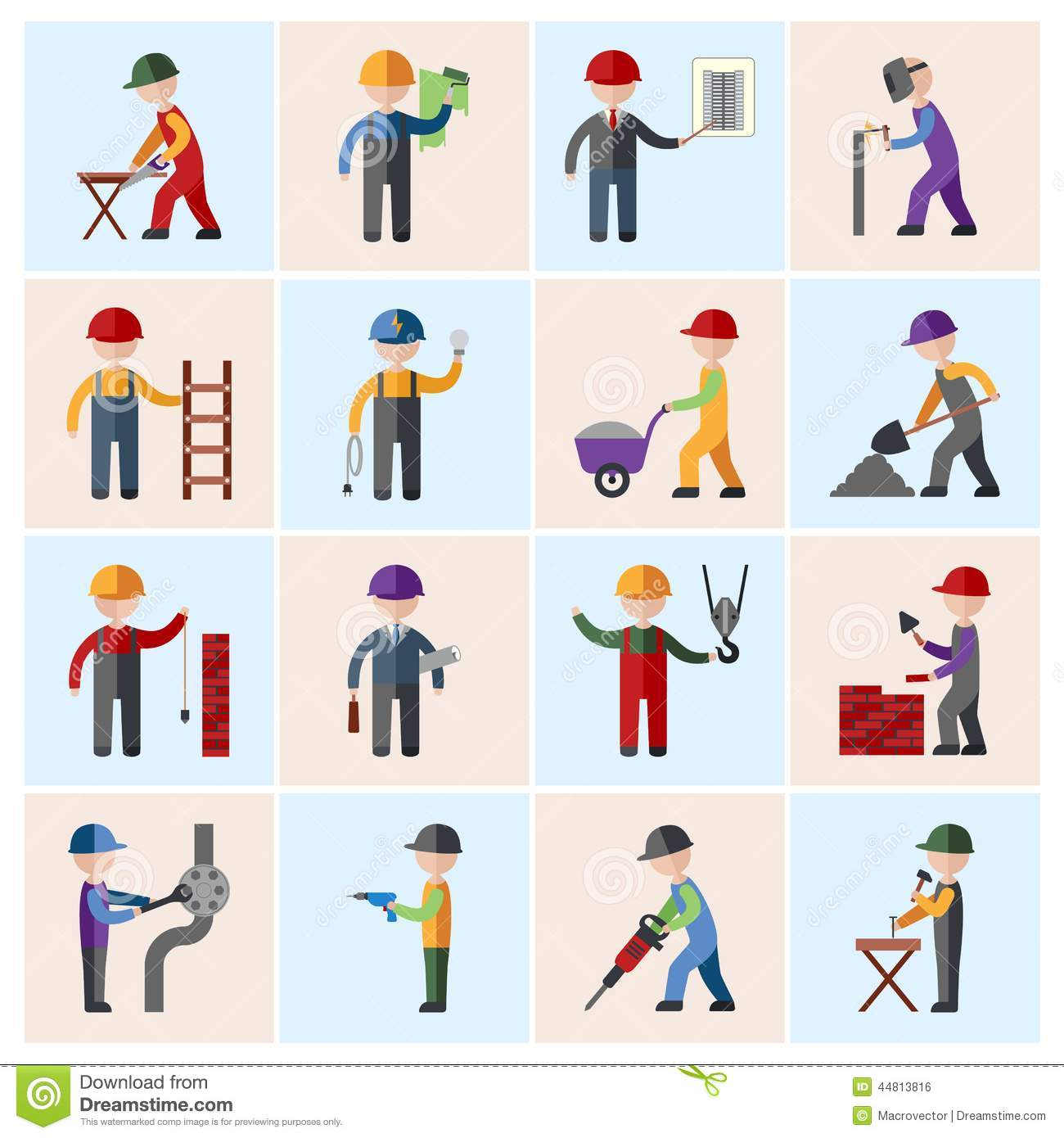 Construction Worker Icons Flat Stock Vector