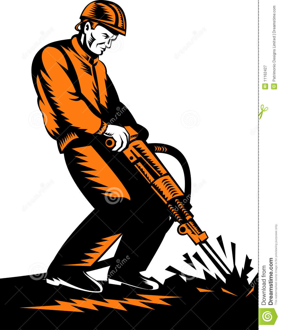 Construction Worker With Jackhammer Royalty Free Stock Photography ...