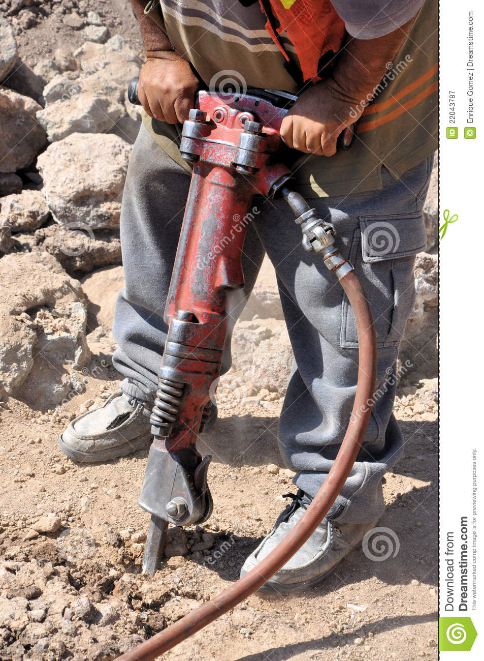 Download Construction Worker With A Jackhammer Stock Image - Image of machine, mounter: 22043787