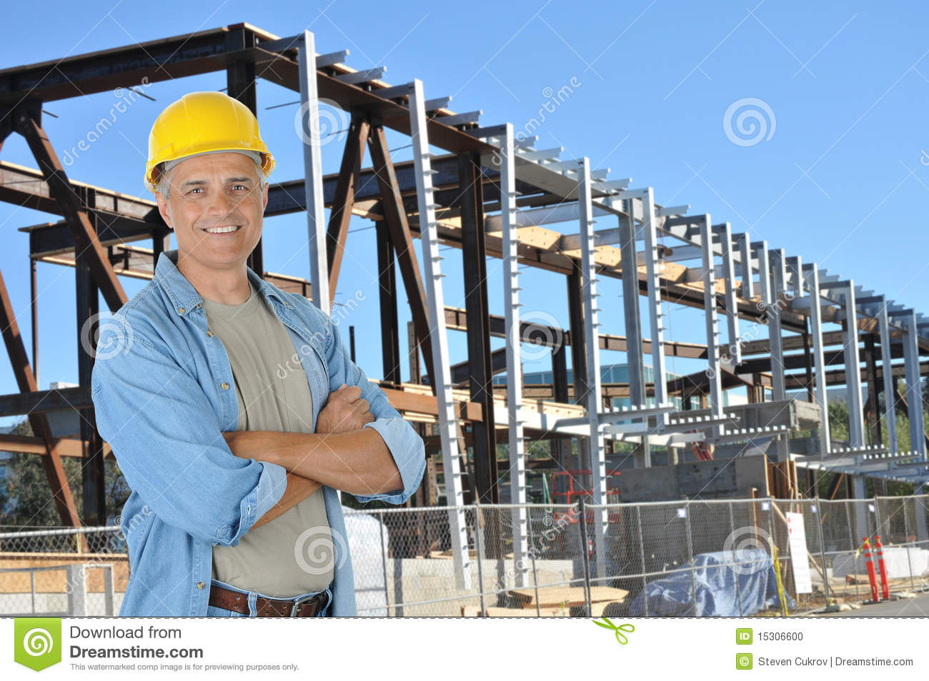 Building Construction Jobs : Construction worker on job site stock photo image