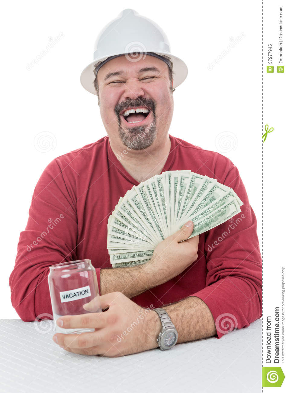 Construction Worker Laughing With Vacations Money Royalty