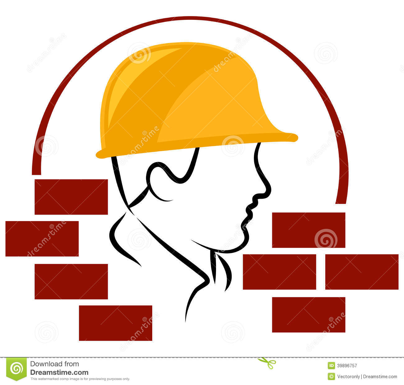 Construction Worker Logo Stock Vector Image 39896757