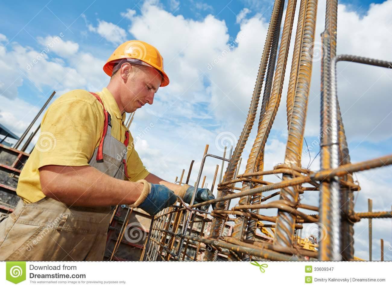 Construction Worker Making Reinforcement Royalty Free