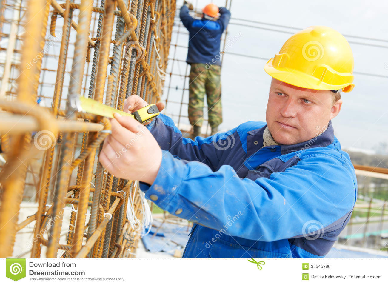 House Builder Plans Construction Worker Making Reinforcement Royalty Free